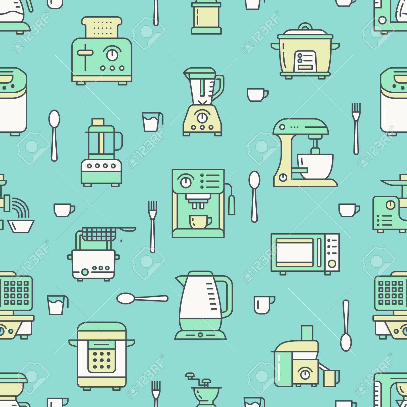 Küchengerät, Kleingeräte Grün Nahtlose Muster Mit Isoelektrisches ...