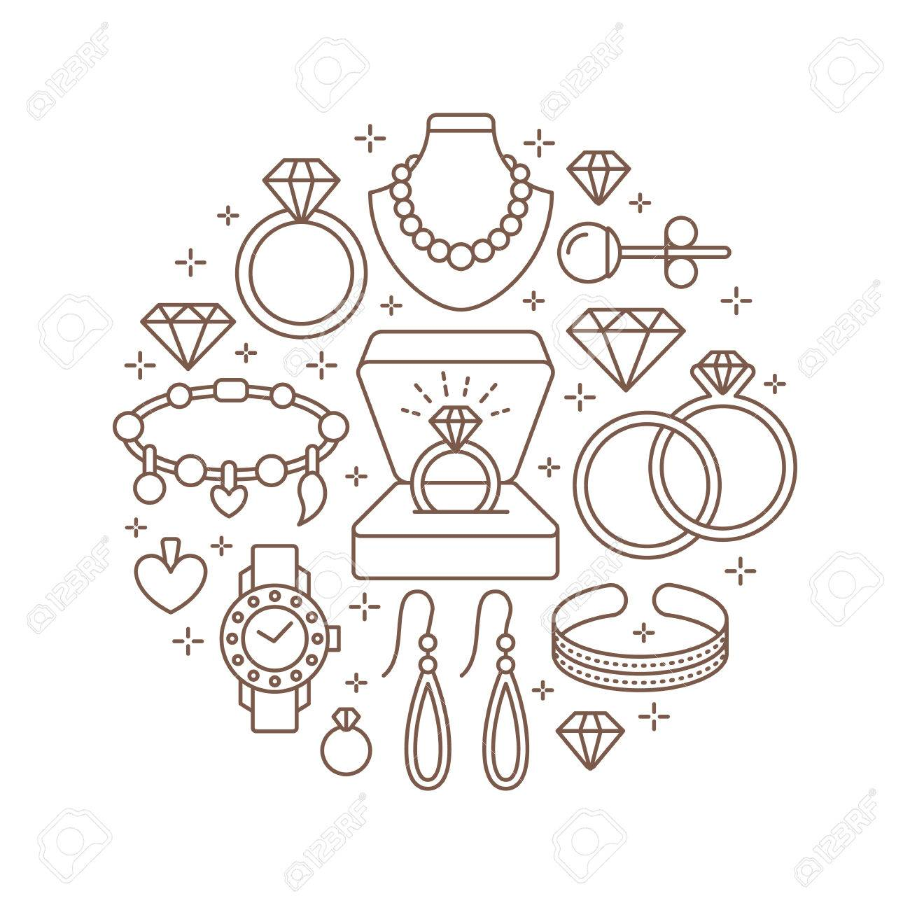 1fc310ea9aca ... Diamante Accesorios Banner Ilustración. Vector Icono De Línea De Joyas  - Relojes De Oro