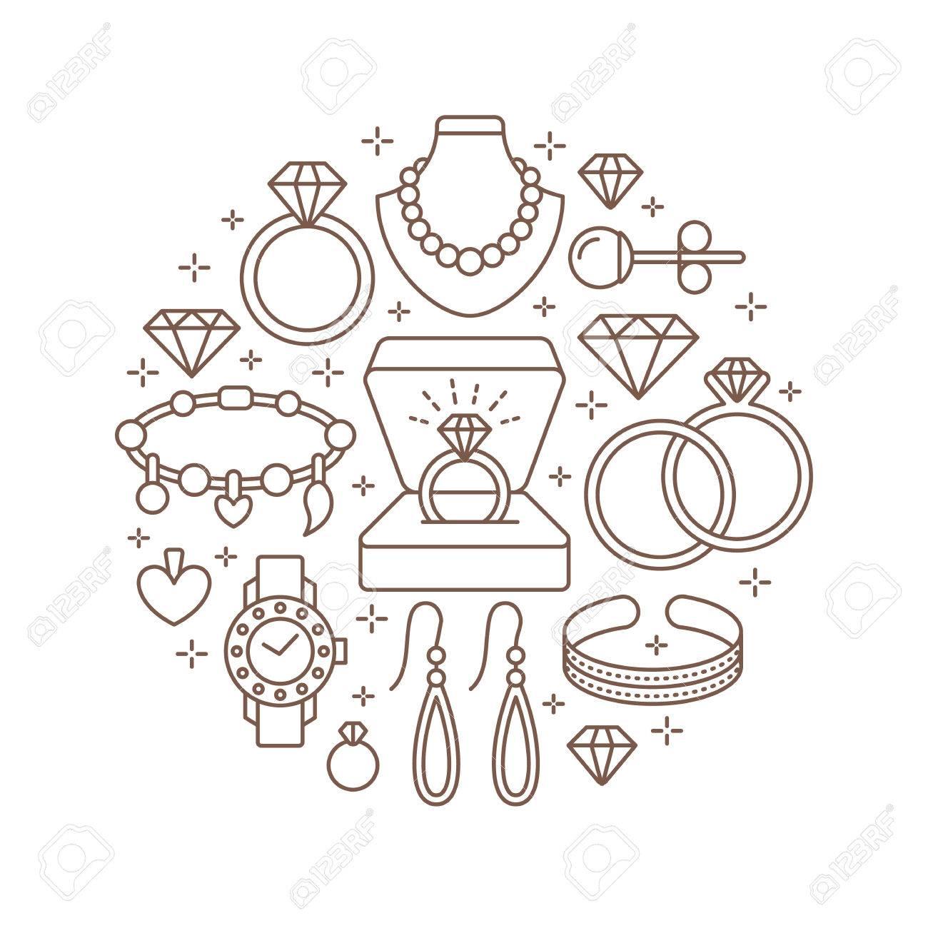 Schmuck-Shop, Diamant-Zubehör Banner Illustration. Vector Line Icon ...