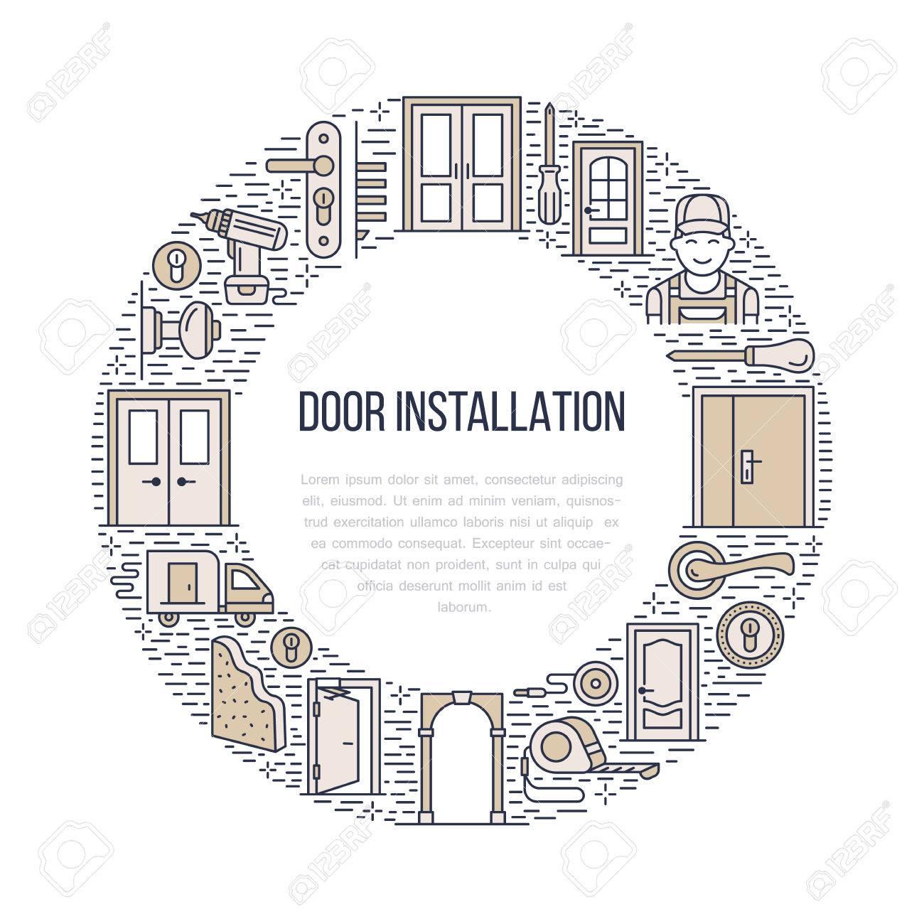 Doors Installation Signs, Repair Banner Illustration. Vector.. Stock ...