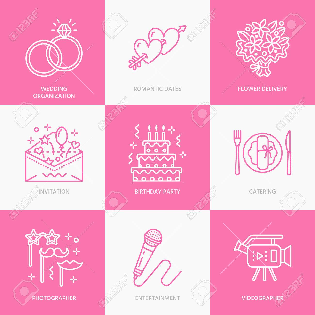 Event agency wedding organization vector line icon party service event agency wedding organization vector line icon party service catering birthday cake junglespirit Image collections