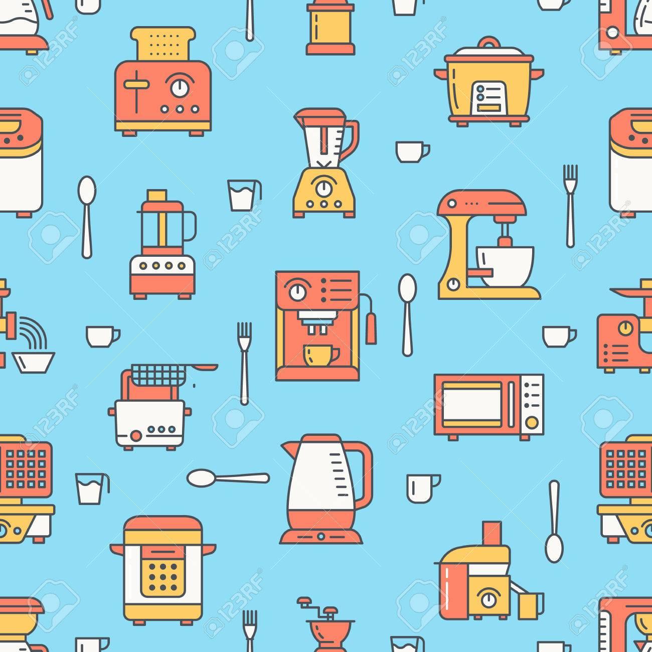 Kitchen utensil, small appliances colored seamless pattern flat..