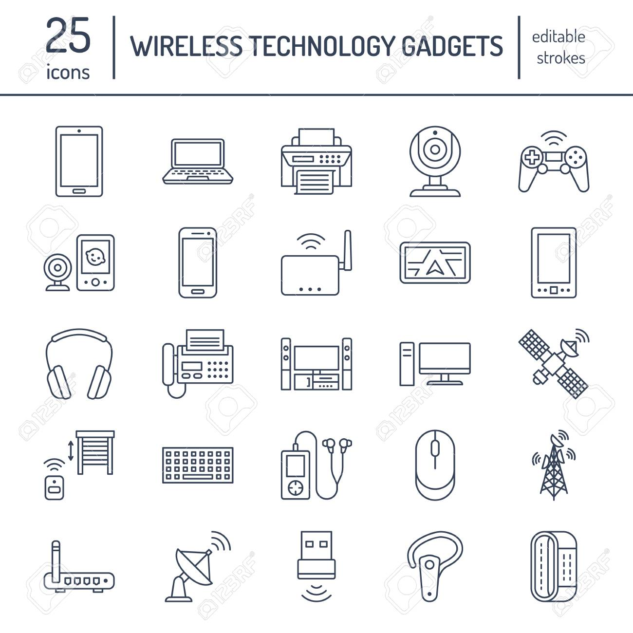 Wireless devices flat line icons wifi internet connection wifi internet connection technology signs router computer smartphone tablet laptop printer satellite vector linear illustration linear for greentooth Choice Image