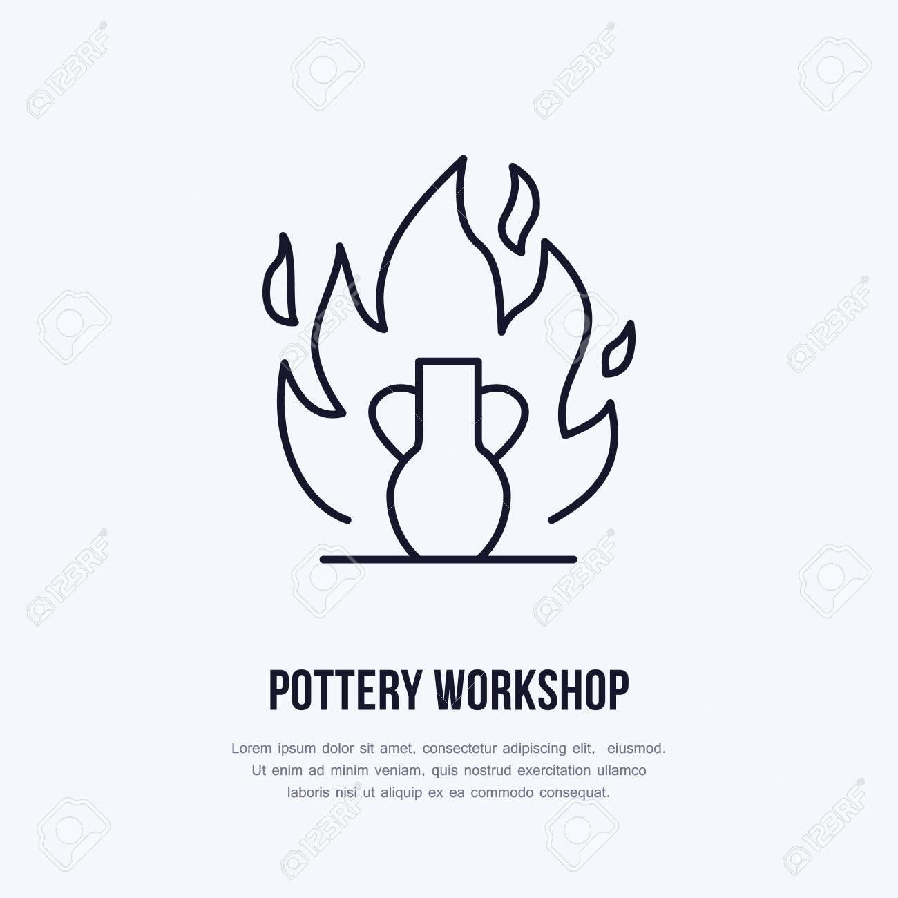 Atelier De Poterie, Icône De Ligne De Cours De Céramique. Clip Art ...
