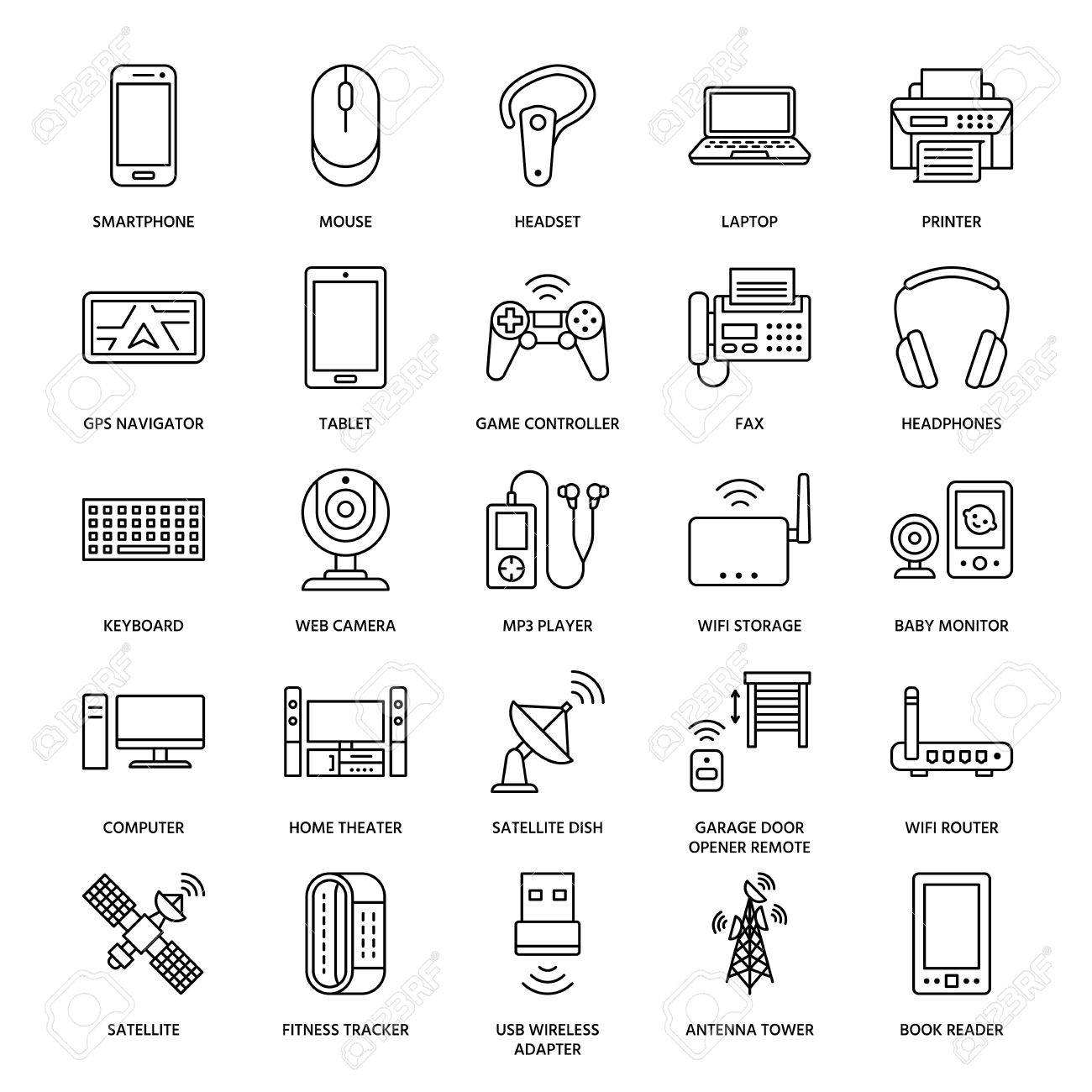 Wireless devices flat line icons wifi internet connection vector wireless devices flat line icons wifi internet connection technology signs router computer smartphone tablet laptop printer satellite greentooth Image collections