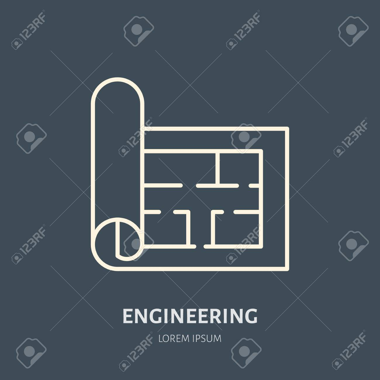 Building Plan Vector Flat Line Icon Architecture Logo Illustration
