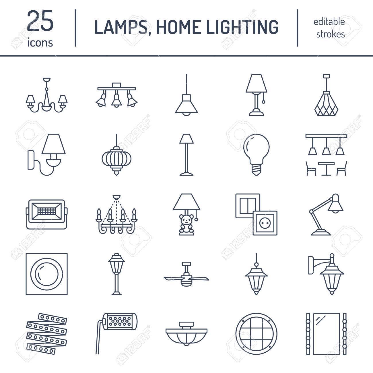 Leuchte, Lampen Flache Linie Symbole. Beleuchtung Für Den Innen- Und ...
