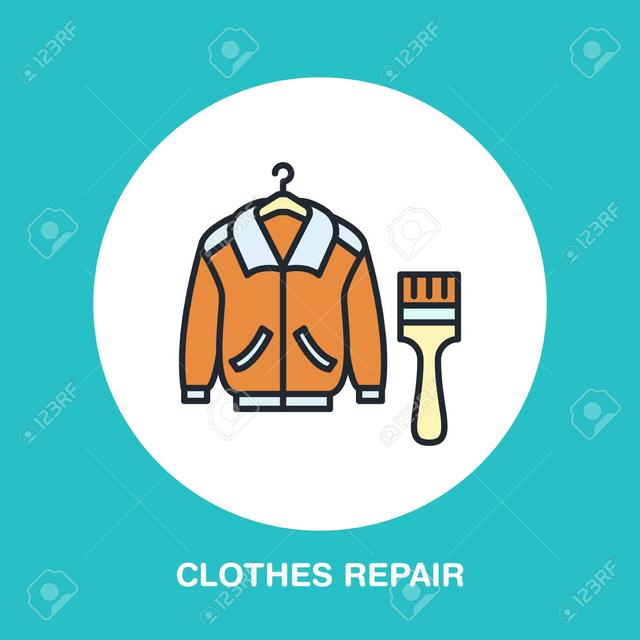 Clothing Repair Line Icon Logo Dry Cleaning Service Flat Sign