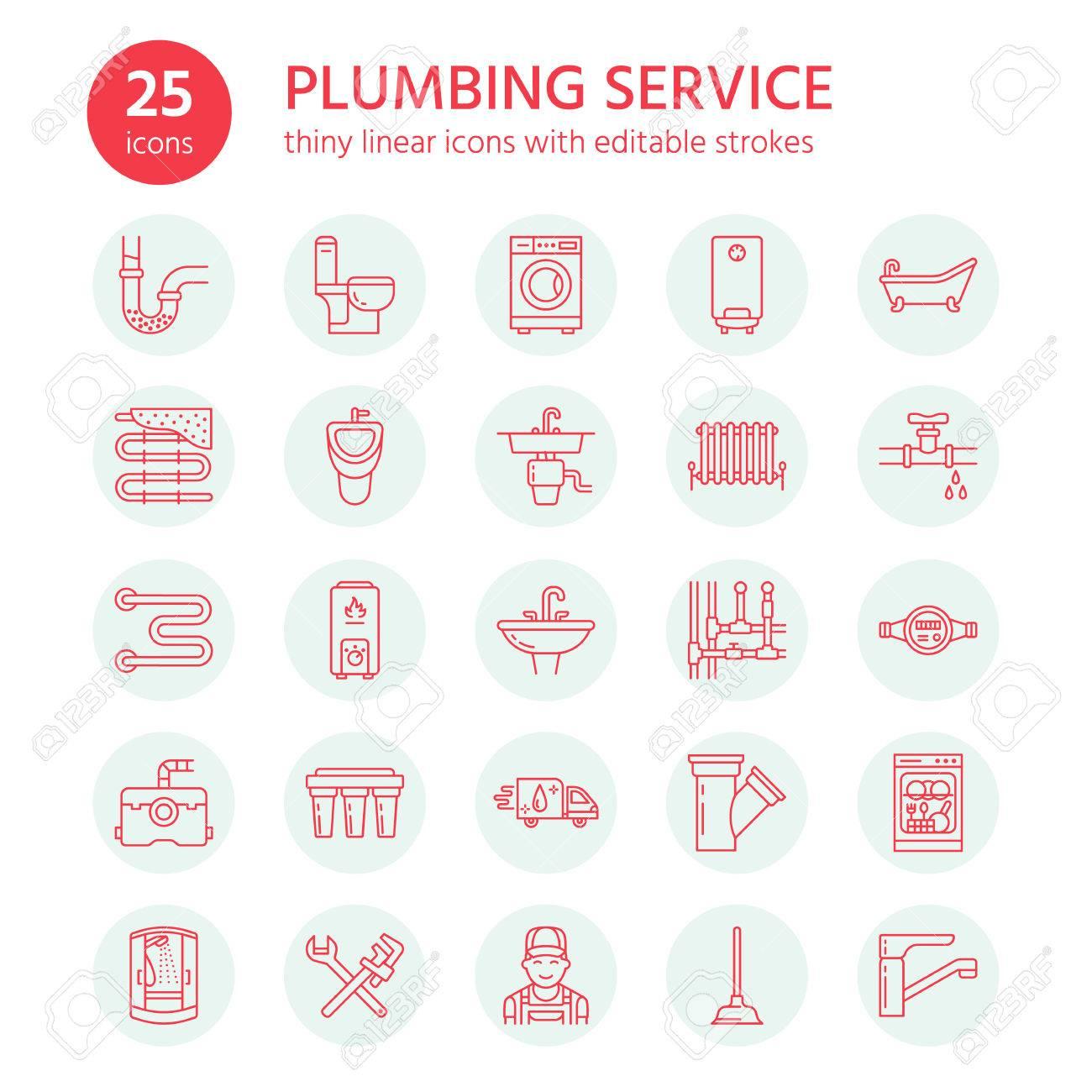 Bevorzugt Sanitär-Service-Vektor-flache Linie Symbole. Haus LM61