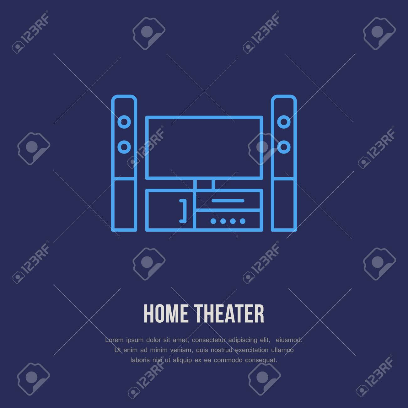 entertainment system with blank screen flat line icon  wireless technology, home  theater sign
