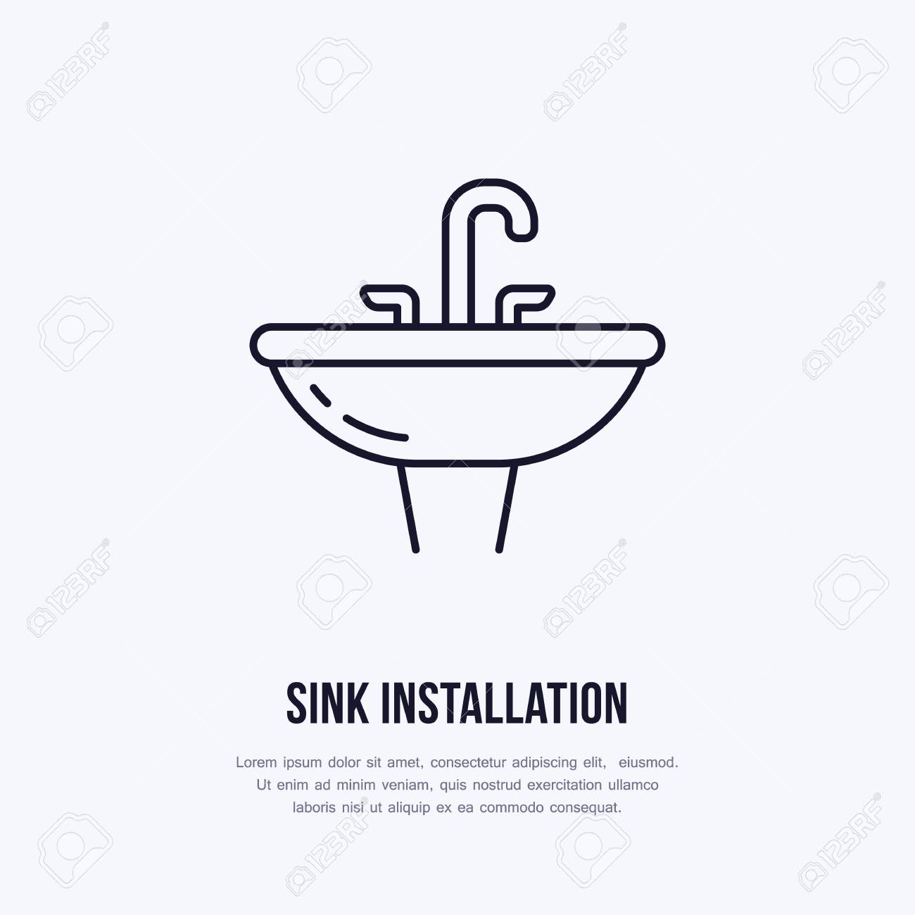 Sink, Toilet Flat Line Icon. Ceramic Washbowl With Faucet Sign ...