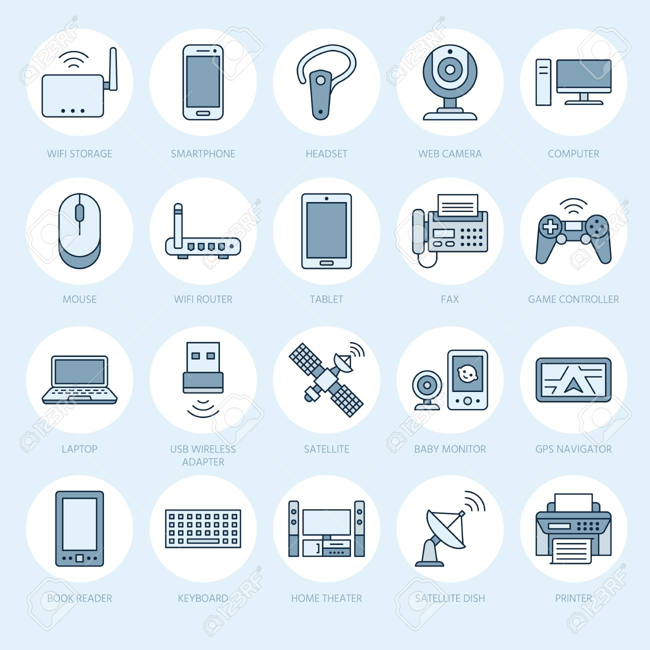 Wireless devices flat line icons wifi internet connection wifi internet connection technology signs router computer smartphone tablet laptop printer satellite vector linear illustration linear for greentooth Gallery