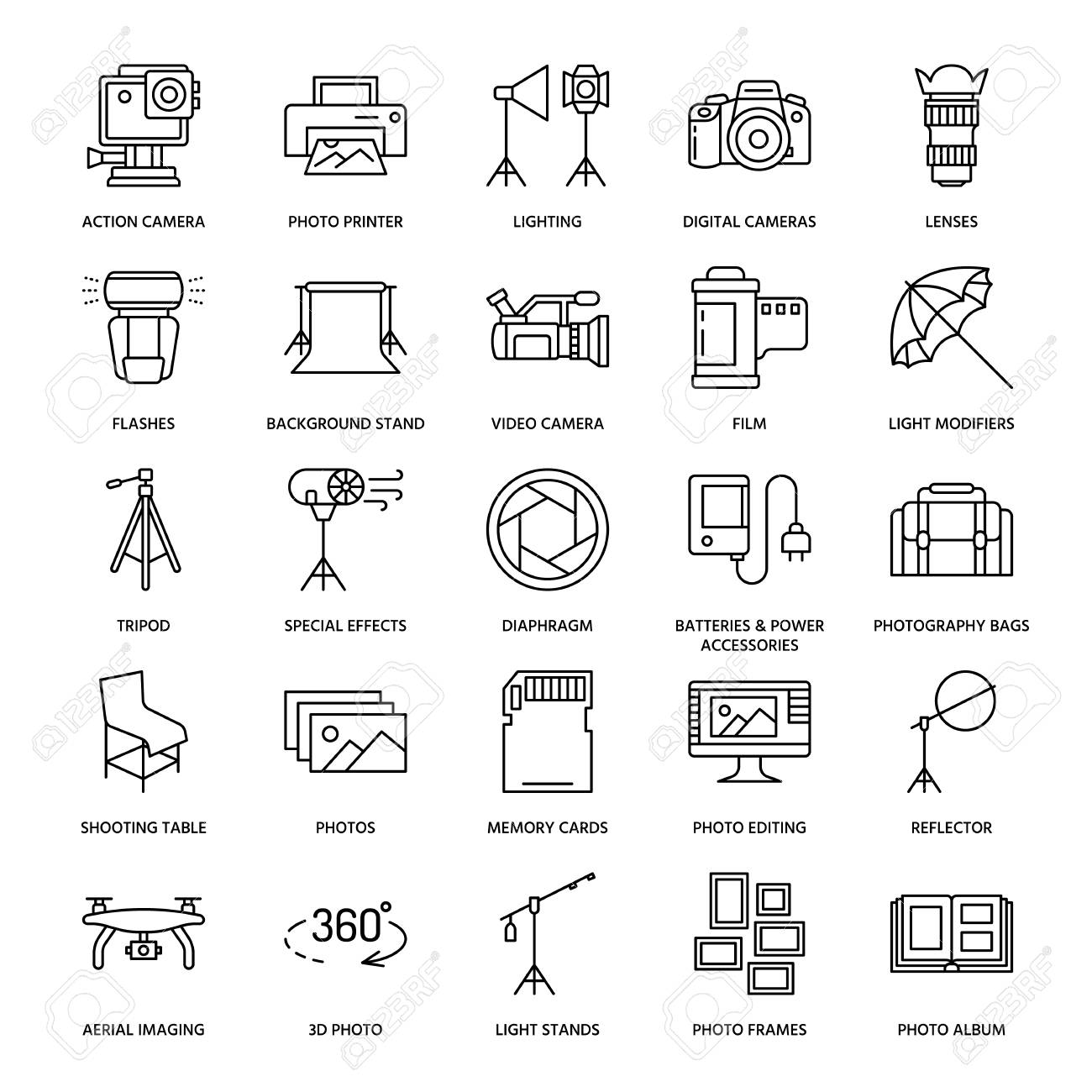 Photography equipment flat line icons. Digital camera, photos, lighting, video cameras, photo accessories, memory card, tripod lens film. Vector illustration, signs for photo studio or store. - 85203917