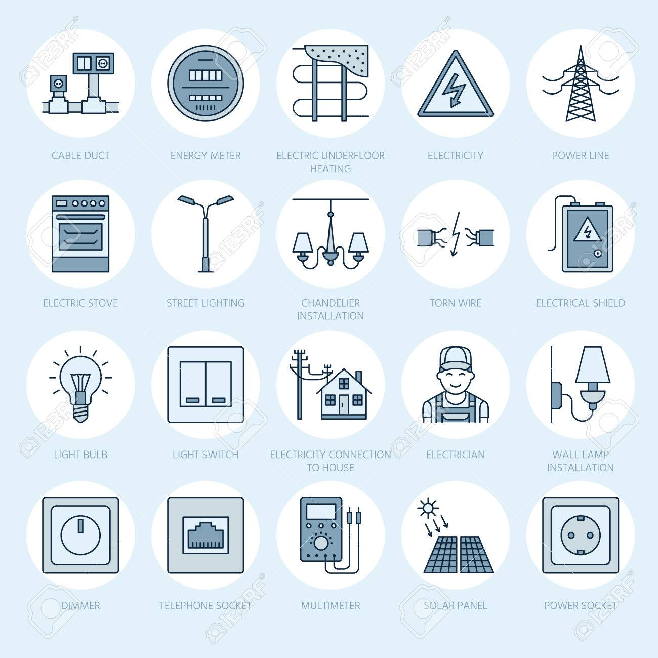electricity engineering vector flat line icons  electrical equipment, power  socket, torn wire,
