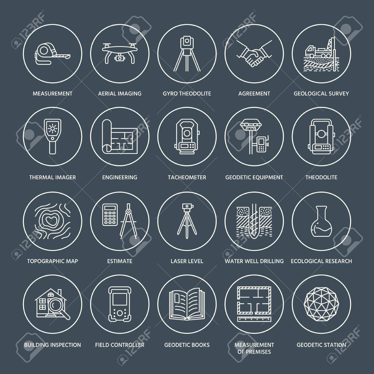 Geodetic survey engineering vector flat line icons. Geodesy equipment, tacheometer, theodolite, tripod. Geological research, building measurement inspection illustration. Construction service signs. - 87889351