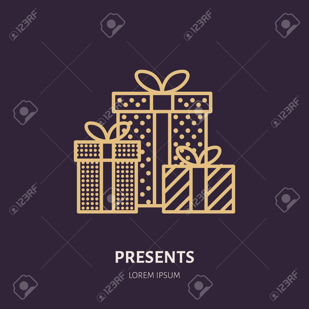 Christmas Gifts, New Year Presents Packaging Flat Line Icons ...