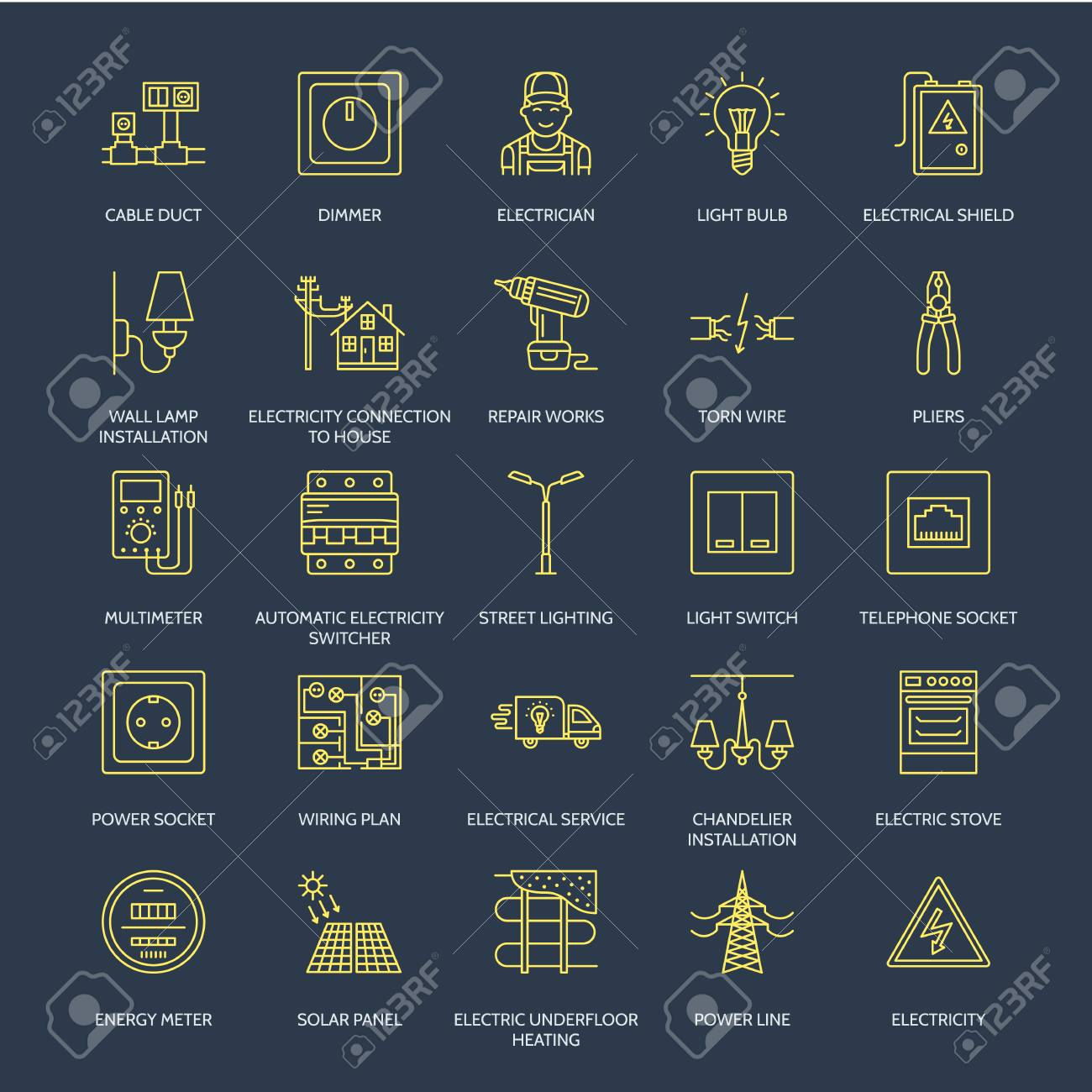 Outstanding Electricity Engineering Vector Flat Line Icons Electrical Equipment Wiring Digital Resources Indicompassionincorg