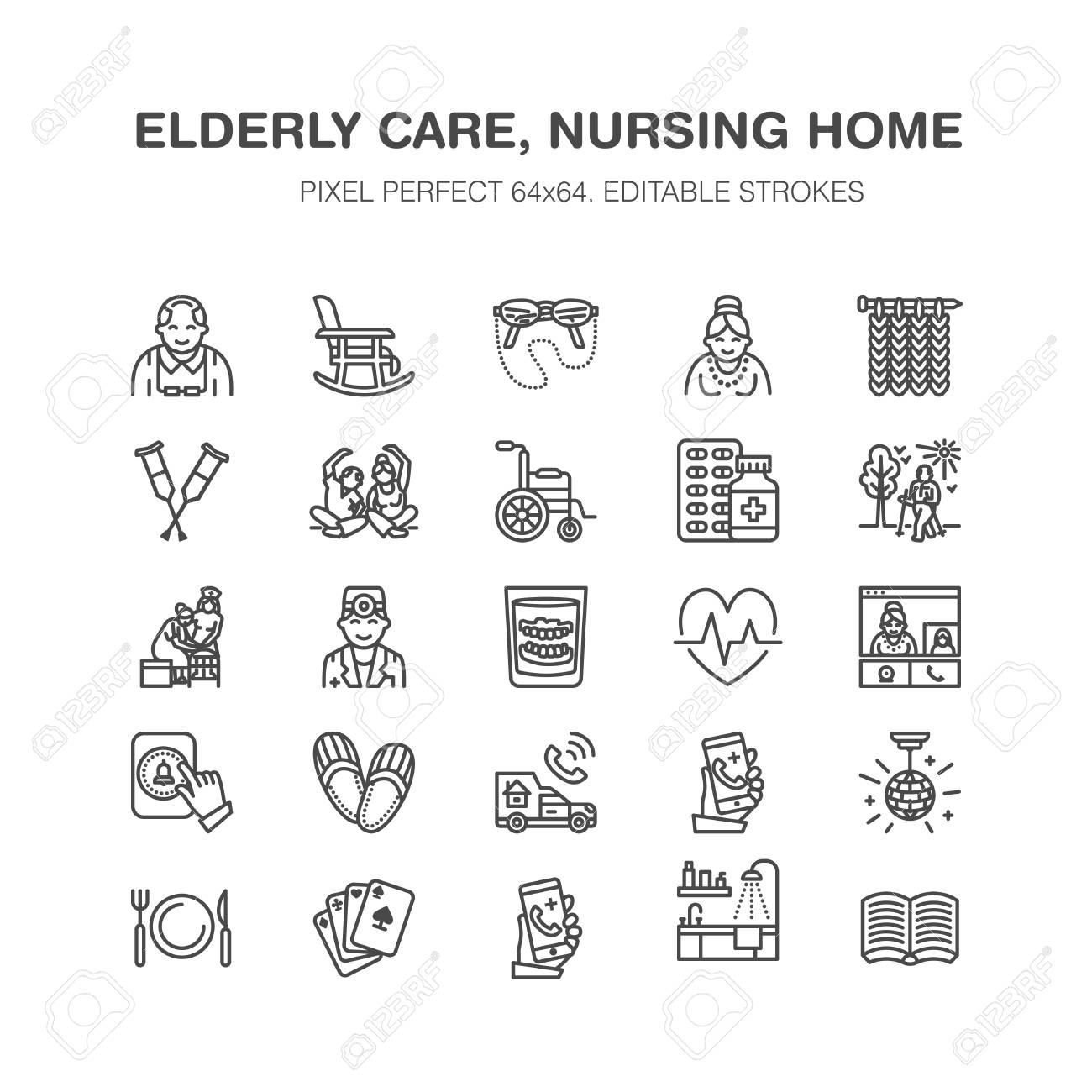 Elderly care vector flat line icons. Nursing home elements - old people activity, wheelchair, health check, hospital call button, grandfather, grandmather, doctor. Pixel perfect 64x64. - 91377053