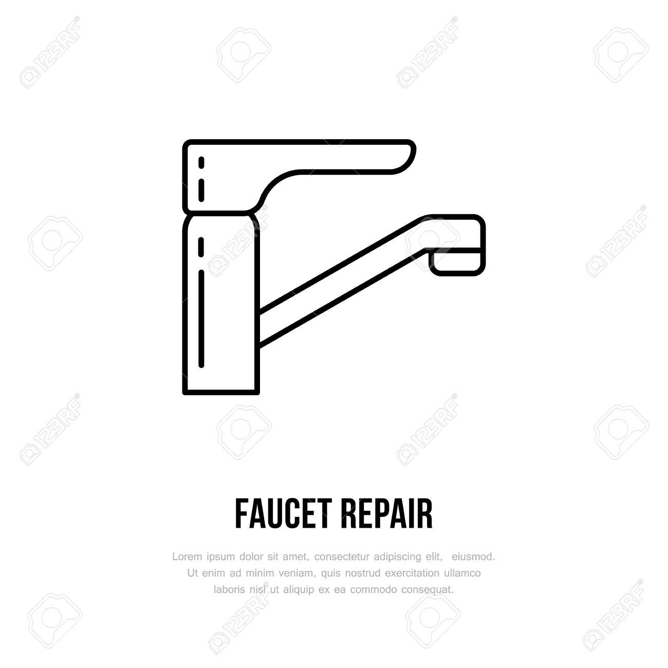 Faucet Flat Logo, Line Icon. Hygiene, Bathroom Water Tap Vector ...