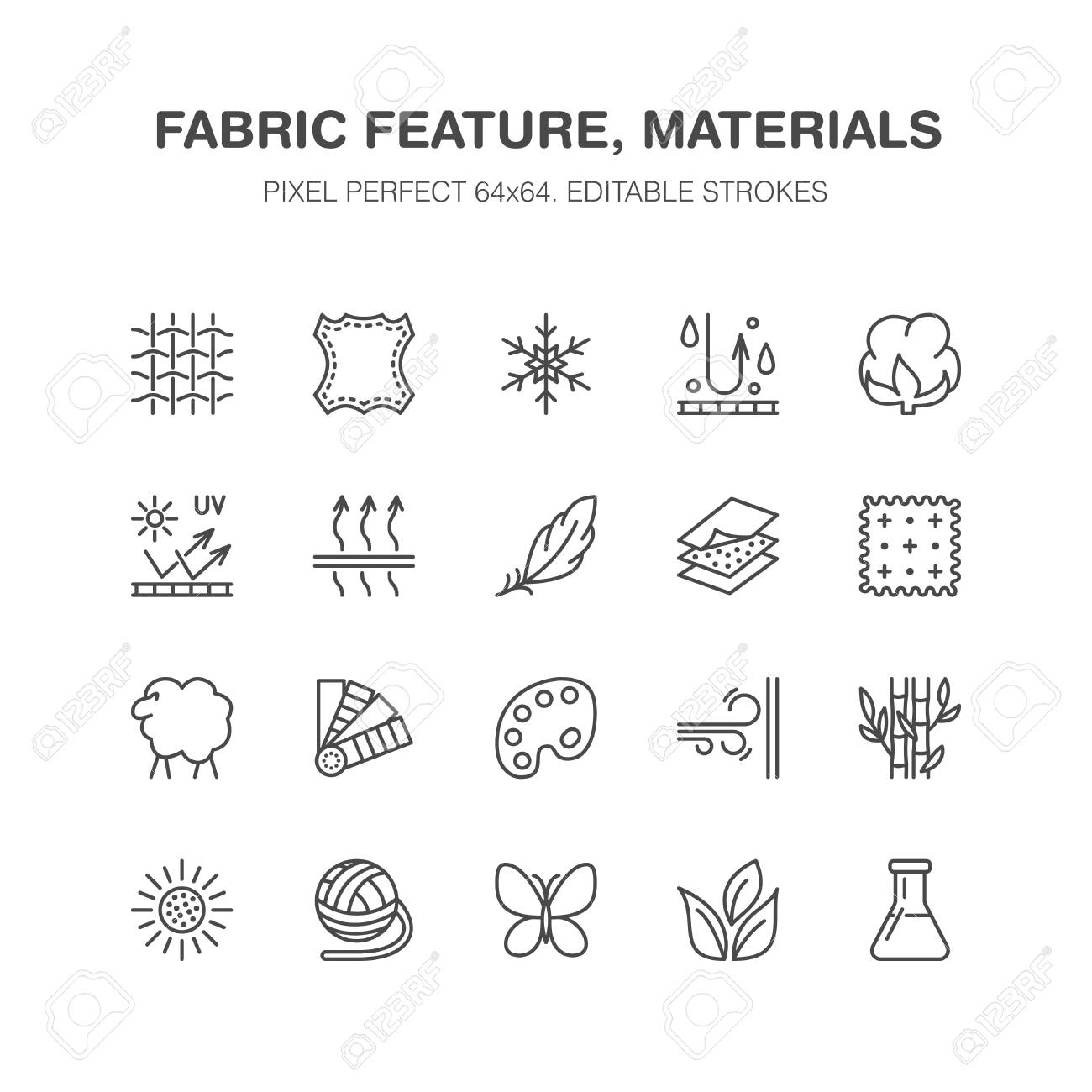 Fabric feature, clothes material vector flat line icons. Garment property symbols. Cotton wool, waterproof, wind resistant, uv protection. Wear label, textile industry pictogram. Pixel perfect 64x64. - 92925857