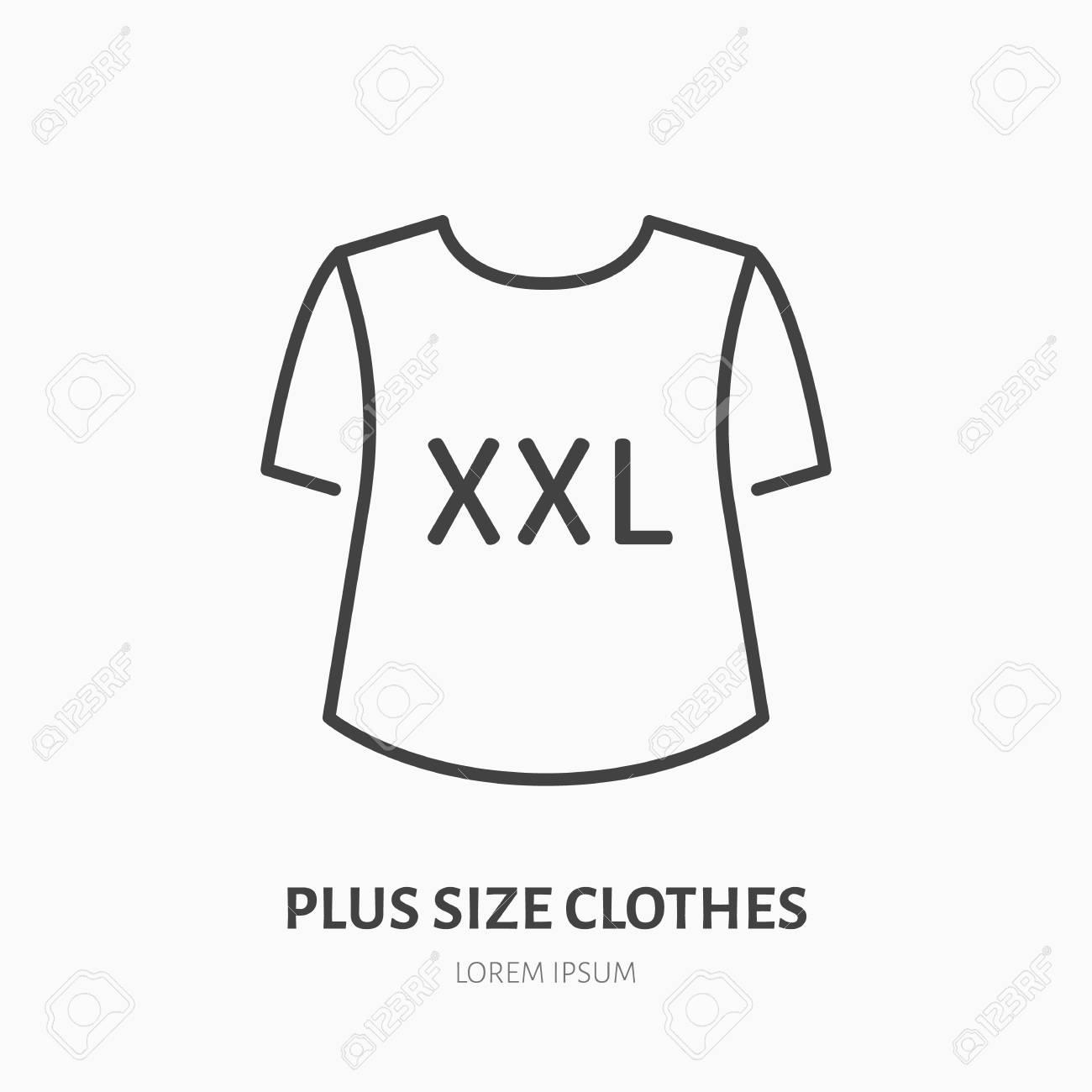 4eecce2a81c5 Archivio Fotografico - Icona di linea piatta negozio di vestiti più  dimensioni. Abbigliamento donna XXL