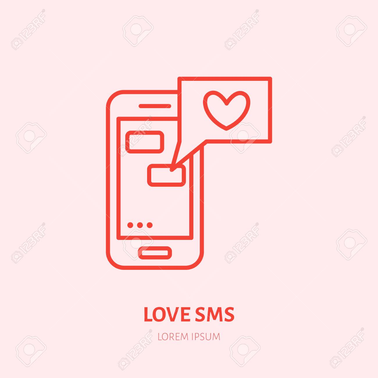 Smartphone with love sms by illustration  Dating message flat