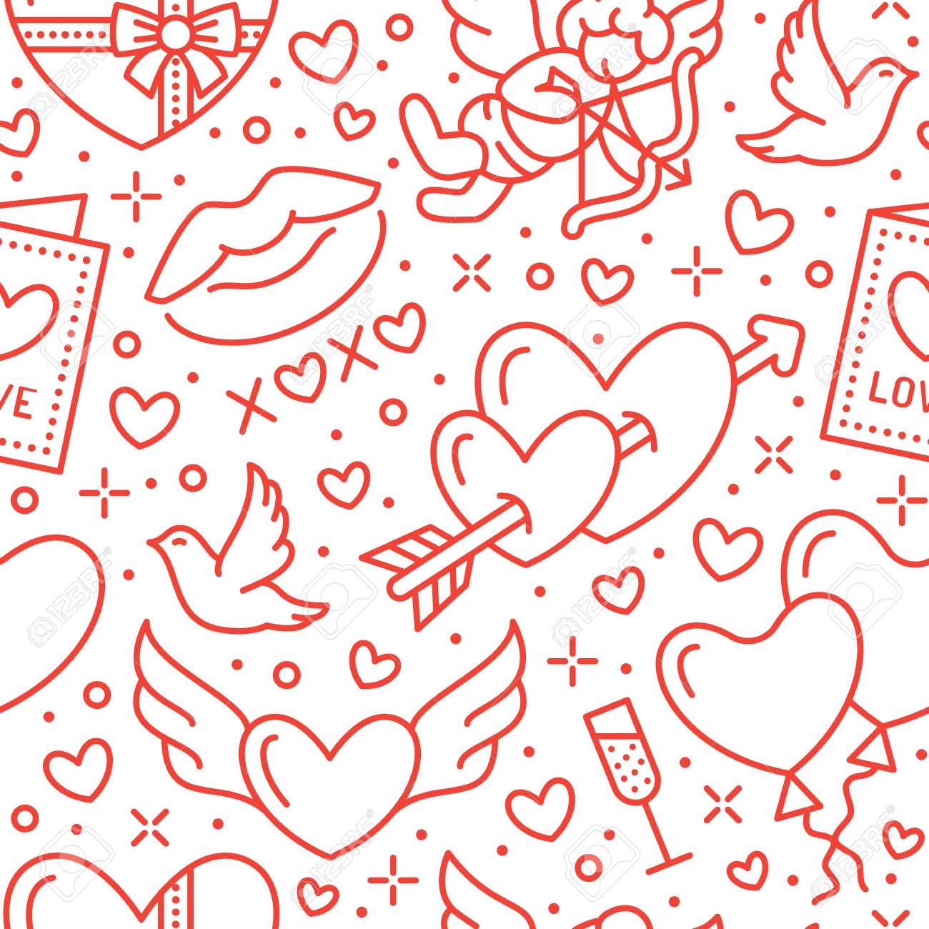 Valentines day seamless pattern. Love, romance flat line icons - hearts, chocolate, kiss, Cupid, doves, valentine card. Red white wallpaper for February 14 celebration. - 93453780