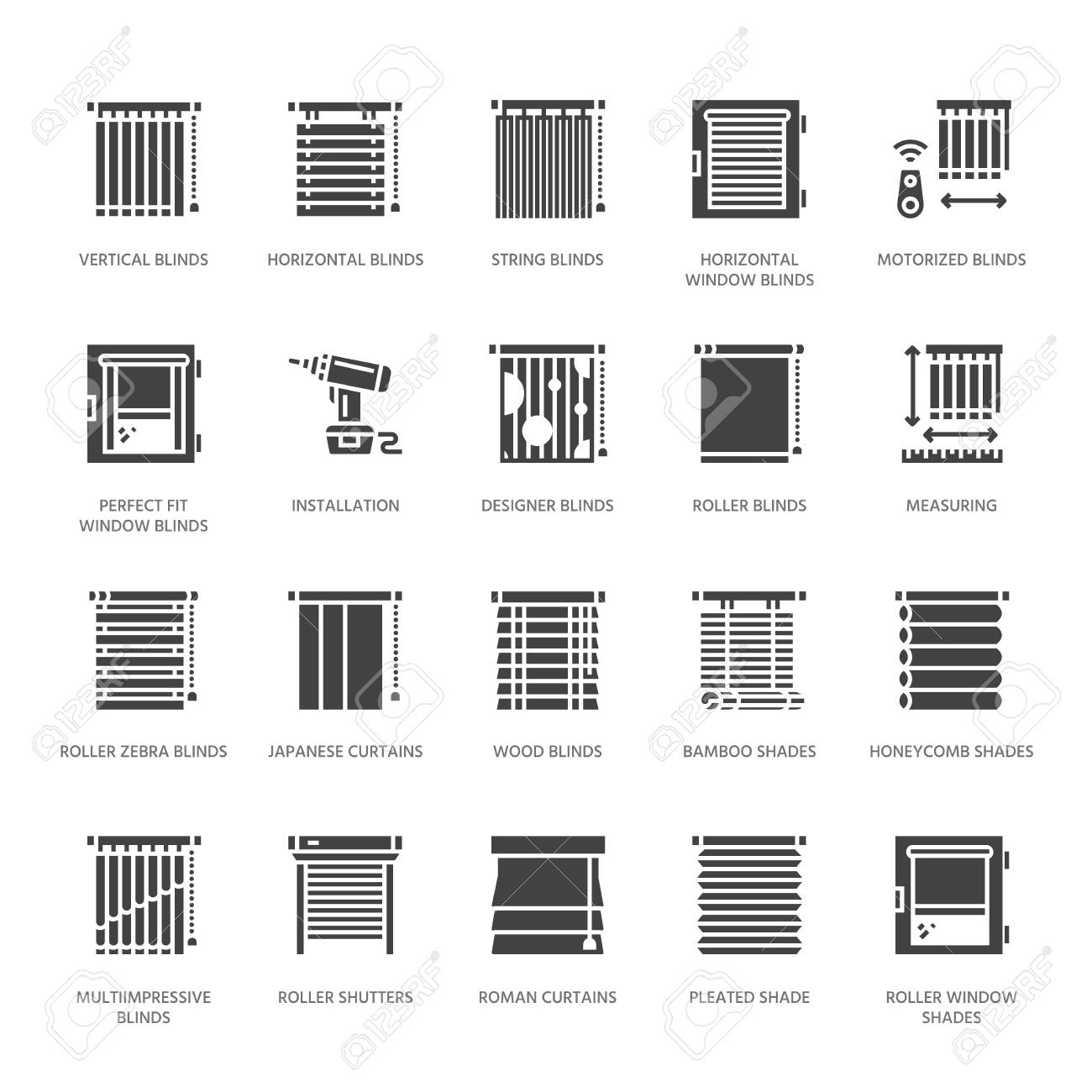 Window blinds, shades vector glyph icons. Various room darkening decoration, roller shutters, roman curtains, horizontal vertical jalousie. Interior design solid silhouette signs for house decor shop. - 93622491