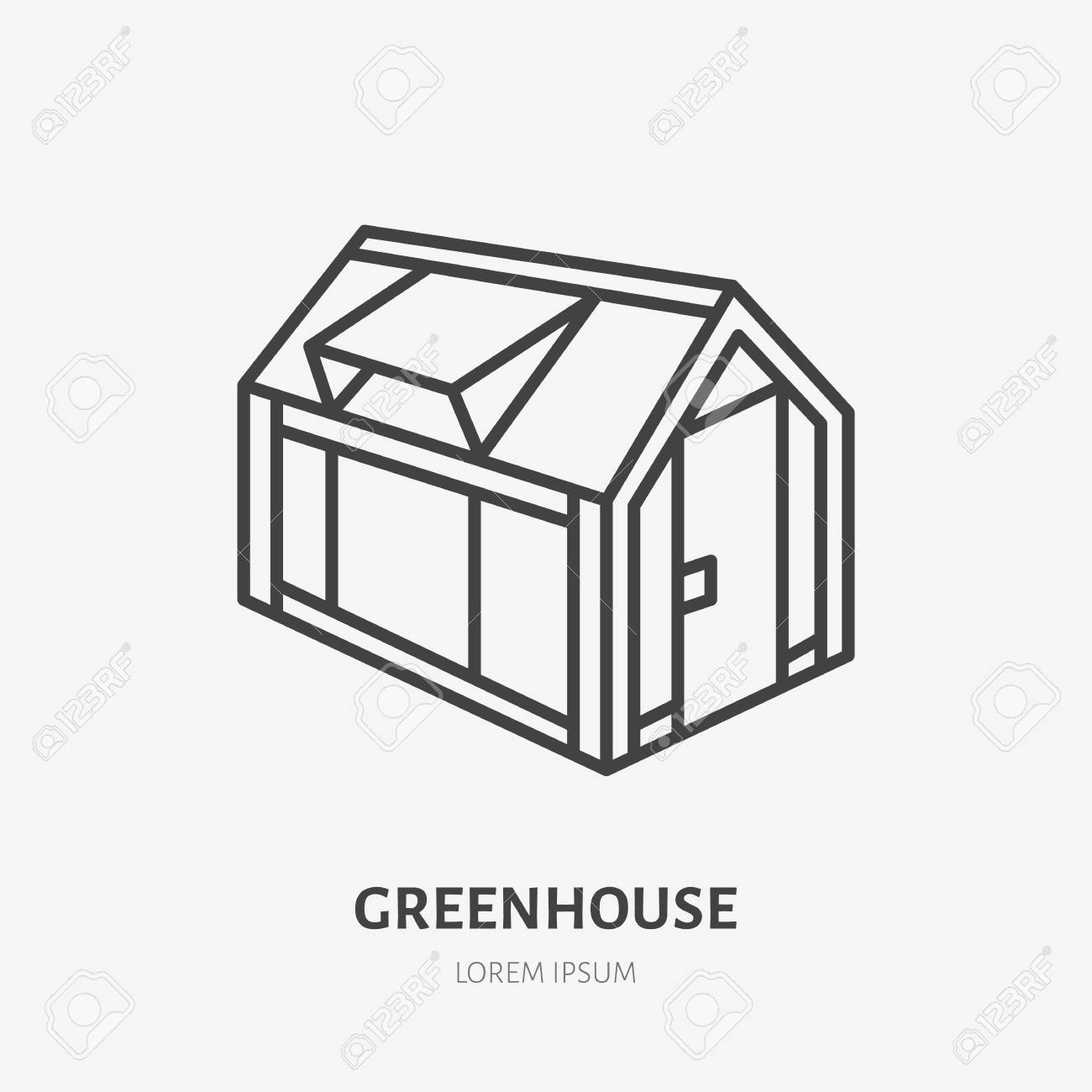 Greenhouse Flat Line Icon. Garden Cold Frame Sign. Thin Linear ...