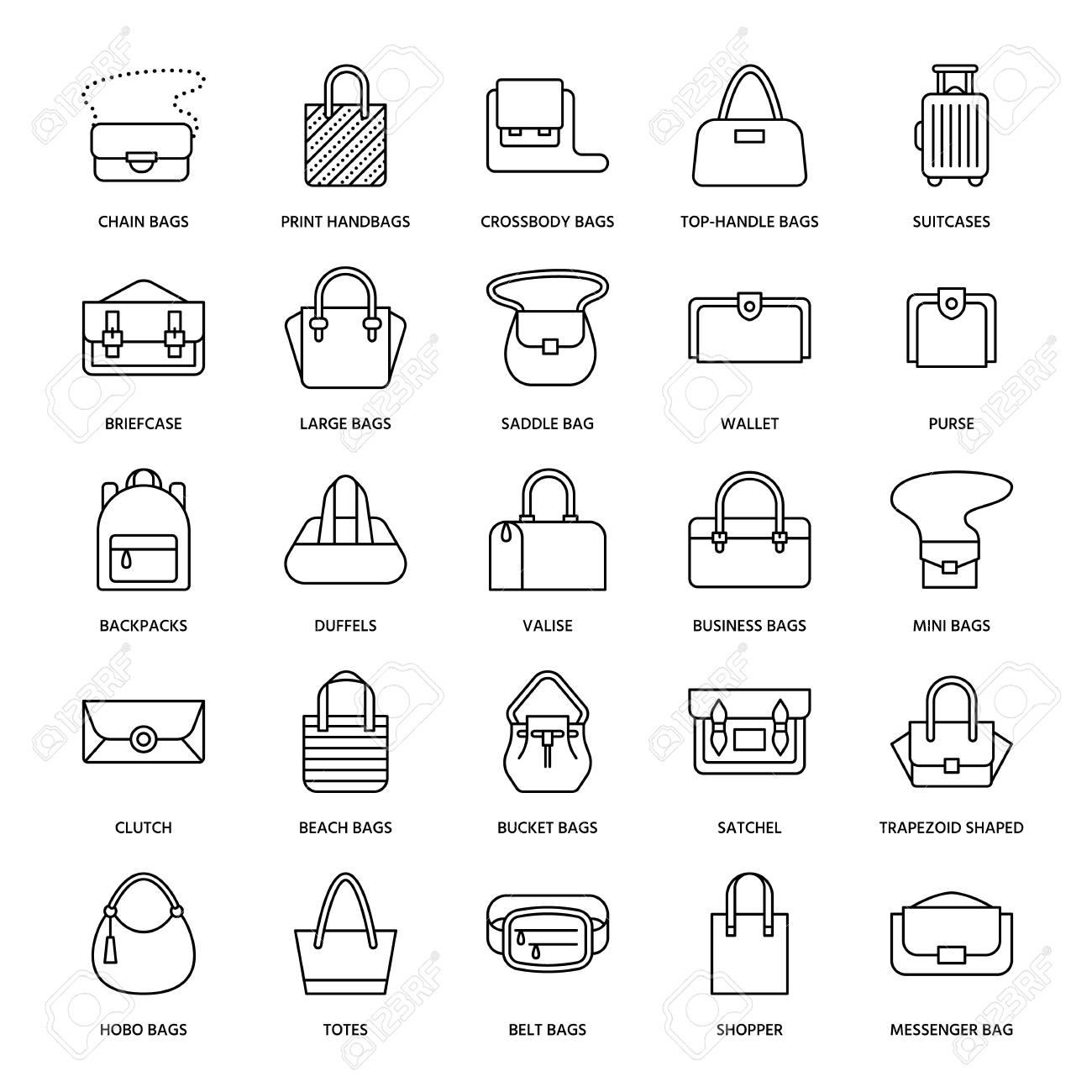 f86884a057 Vector - Women handbags flat line icons. Bags types