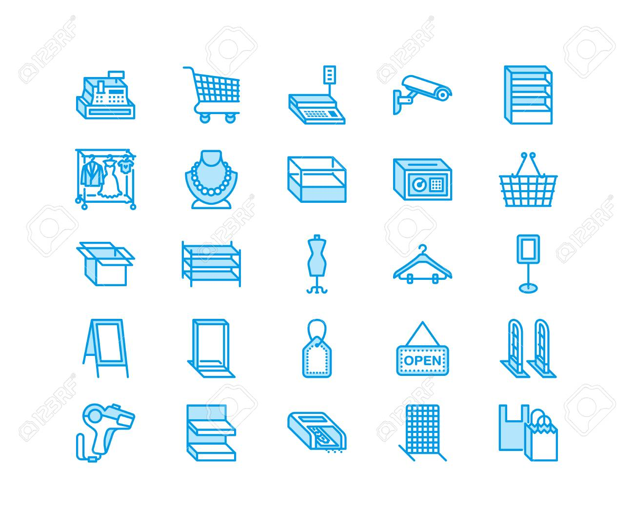 Retail store supplies line icons  Trade shop equipment signs  Commercial  objects - cash register, basket, scales, shopping cart, shelving, display