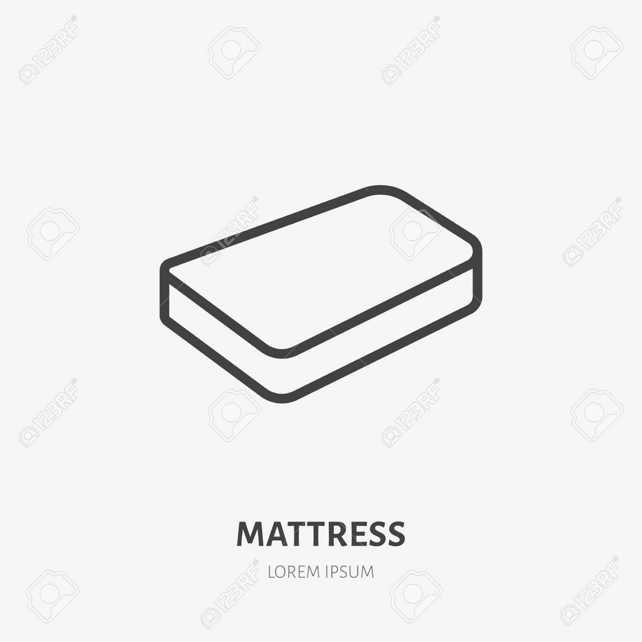 Mattress Flat Line Icon Bedding Sign Thin Linear Logo For Interior Royalty Free Cliparts Vectors And Stock Illustration Image 102614801