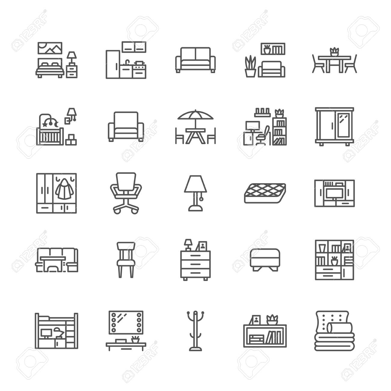 Furniture vector flat line icons. Living room tv stand, bedroom, home office, kitchen corner bench, sofa, nursery, dining table, bedding. Thin signs collection for interior store. Pixel perfect 64x64. - 103024076