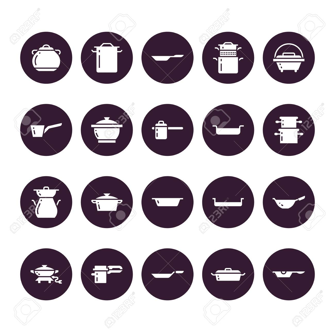 Pot, pan and steamer glyph icons. Restaurant professional equipment signs. Kitchen utensil - wok, saucepan, eathernware dish. Silhouette signs for commercial cooking store. Pixel perfect 64x64. - 104834431