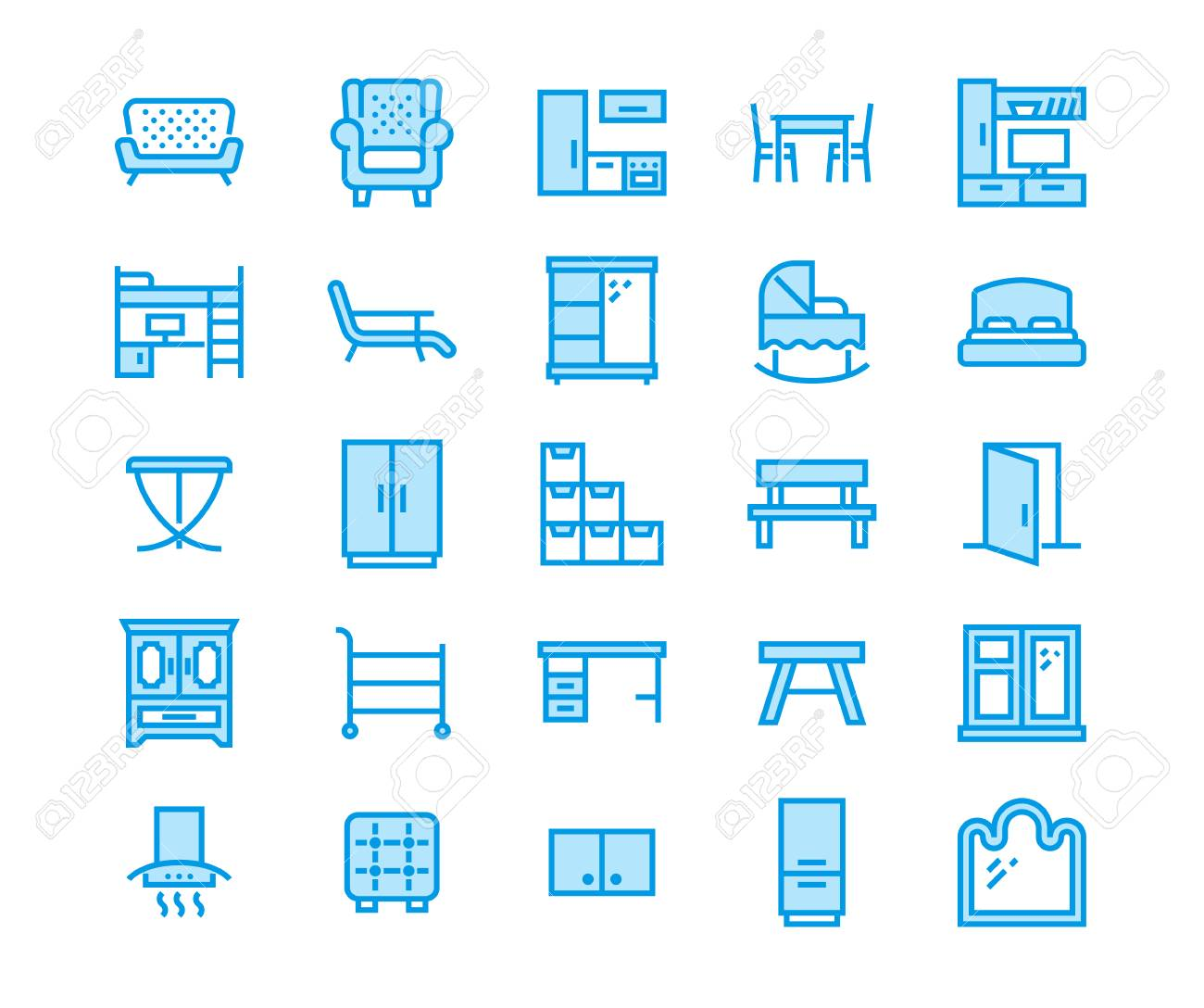 Furniture Vector Flat Line Icons. Living Room Tv Stand, Bedroom ...