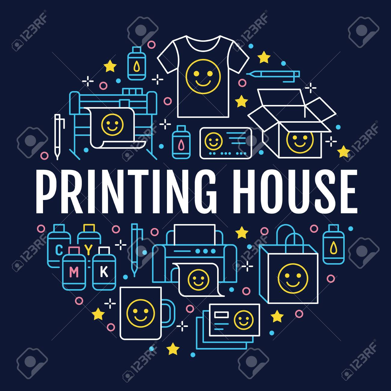 Printing house circle poster with flat line icons. Print shop equipment - printer, scanner, offset machine, plotter, brochure, cmyk, rubber stamp. Polygraphy office signs, typography. - 105973976