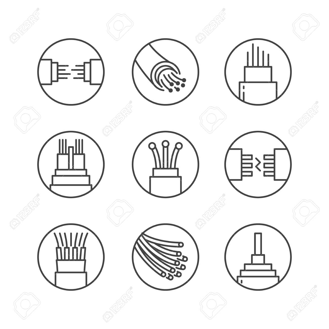 Optical fiber flat line vector icons. Network connection, computer wire, cable bobbin, data transfer. Thin signs in circle shapes for electronics store, internet services. - 106301160