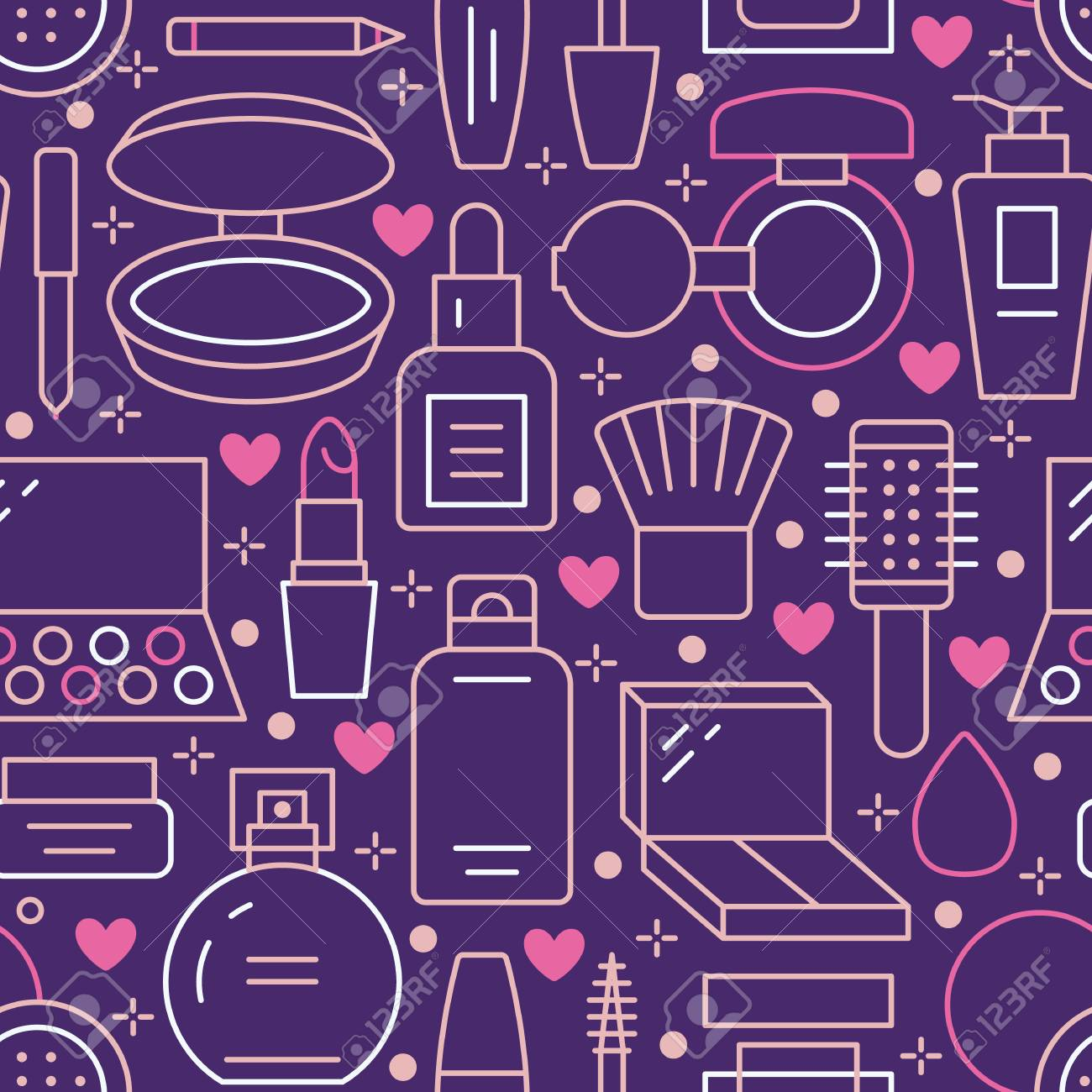 Makeup Beauty Care Purple Pink Seamless Pattern With Flat Line Royalty Free Cliparts Vectors And Stock Illustration Image 110438208