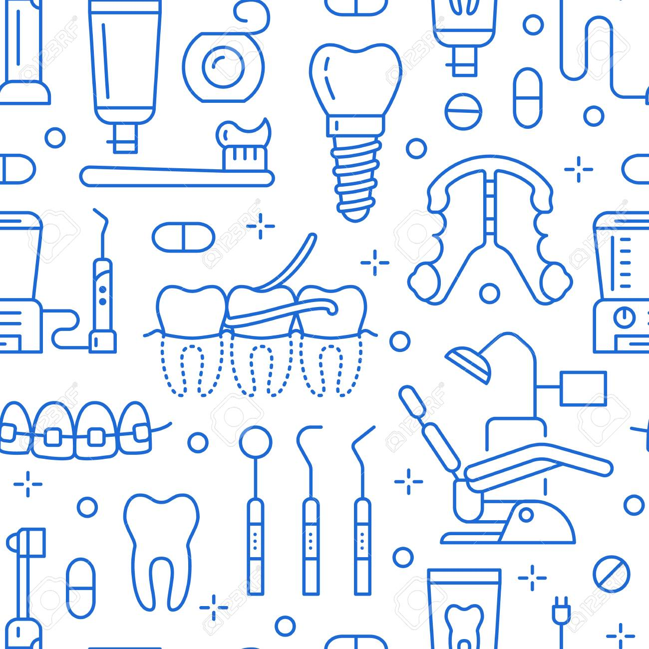 Dentist, orthodontics blue seamless pattern with line icons. Dental care, medical equipment, braces, tooth prosthesis, floss, caries treatment, toothpaste. Health care background for dentistry clinic. - 108590256