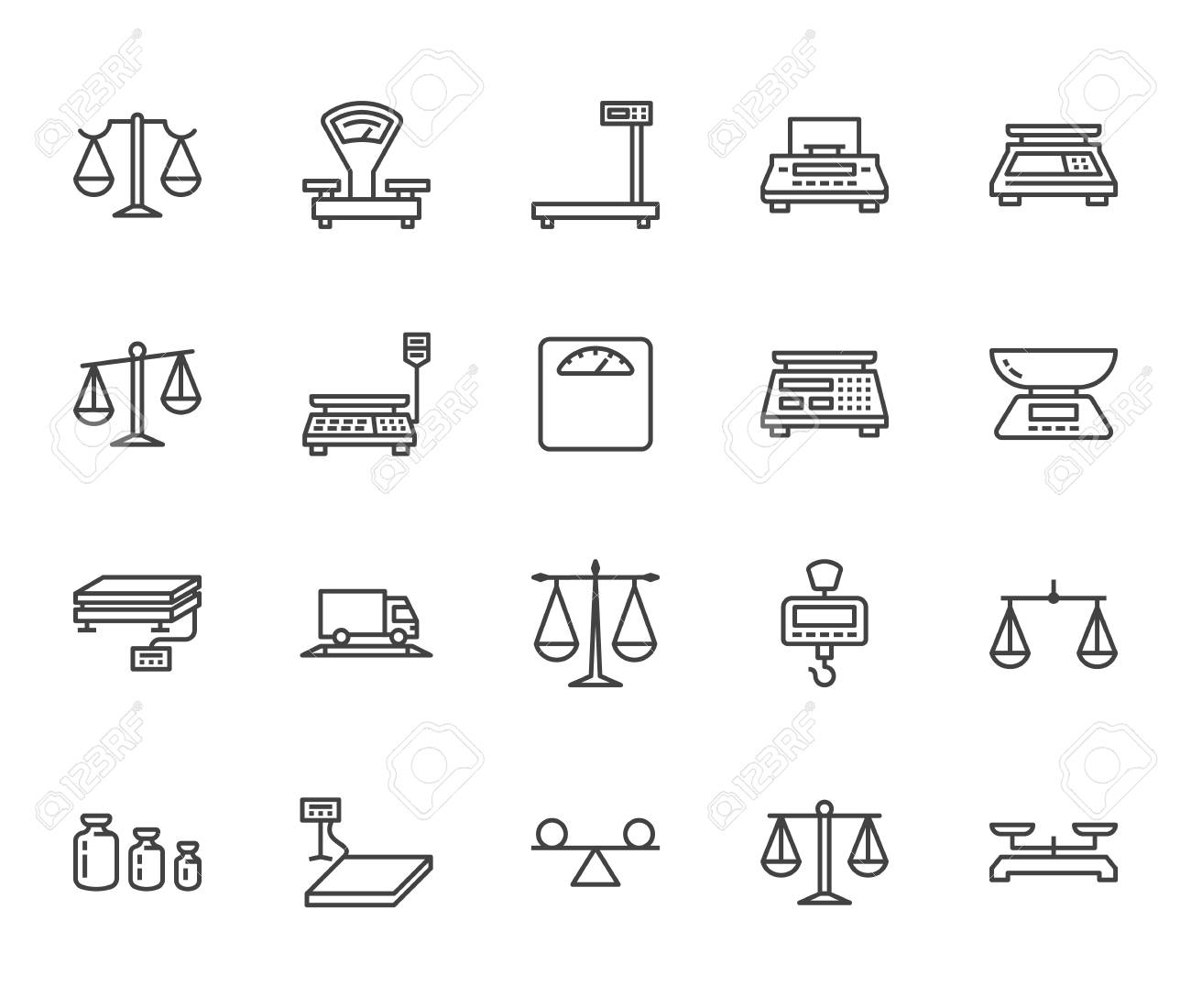 Balance flat line icons set. Weight measurement tools, diet scales, trade, electronic, industrial scale calibration vector illustrations. Thin sign justice concept. Pixel perfect 64x64 Editable Stroke - 116446192