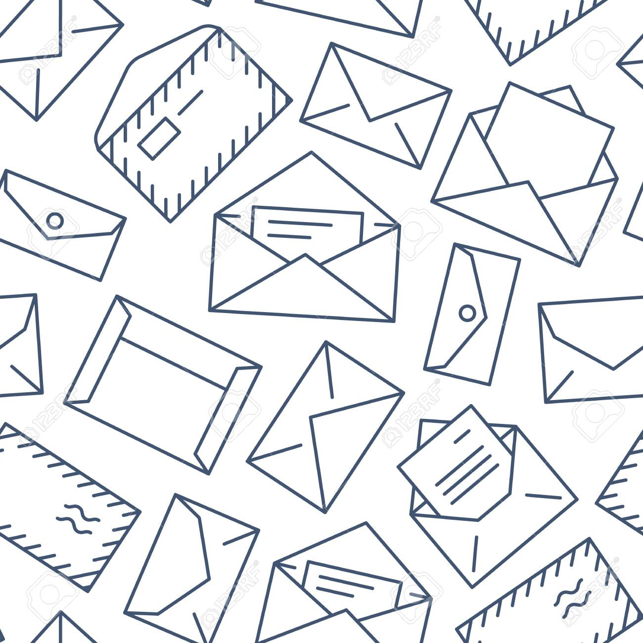 Seamless pattern with envelopes flat line icons. Mail background, message, open envelope with letter, email vector illustrations. Black white thin signs for mailing list, post office. - 120133264