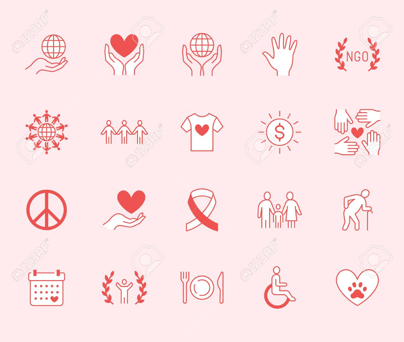 Charity Flat Line Icons Set Donation Nonprofit Organization Royalty Free Cliparts Vectors And Stock Illustration Image 126747738