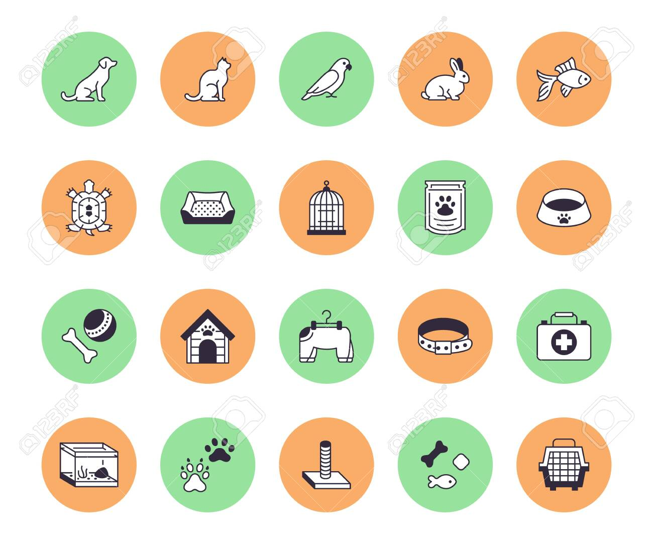 Pet Shop Flat Line Icons Set Dog Carrier Cat Scratcher Bird Royalty Free Cliparts Vectors And Stock Illustration Image 127565800