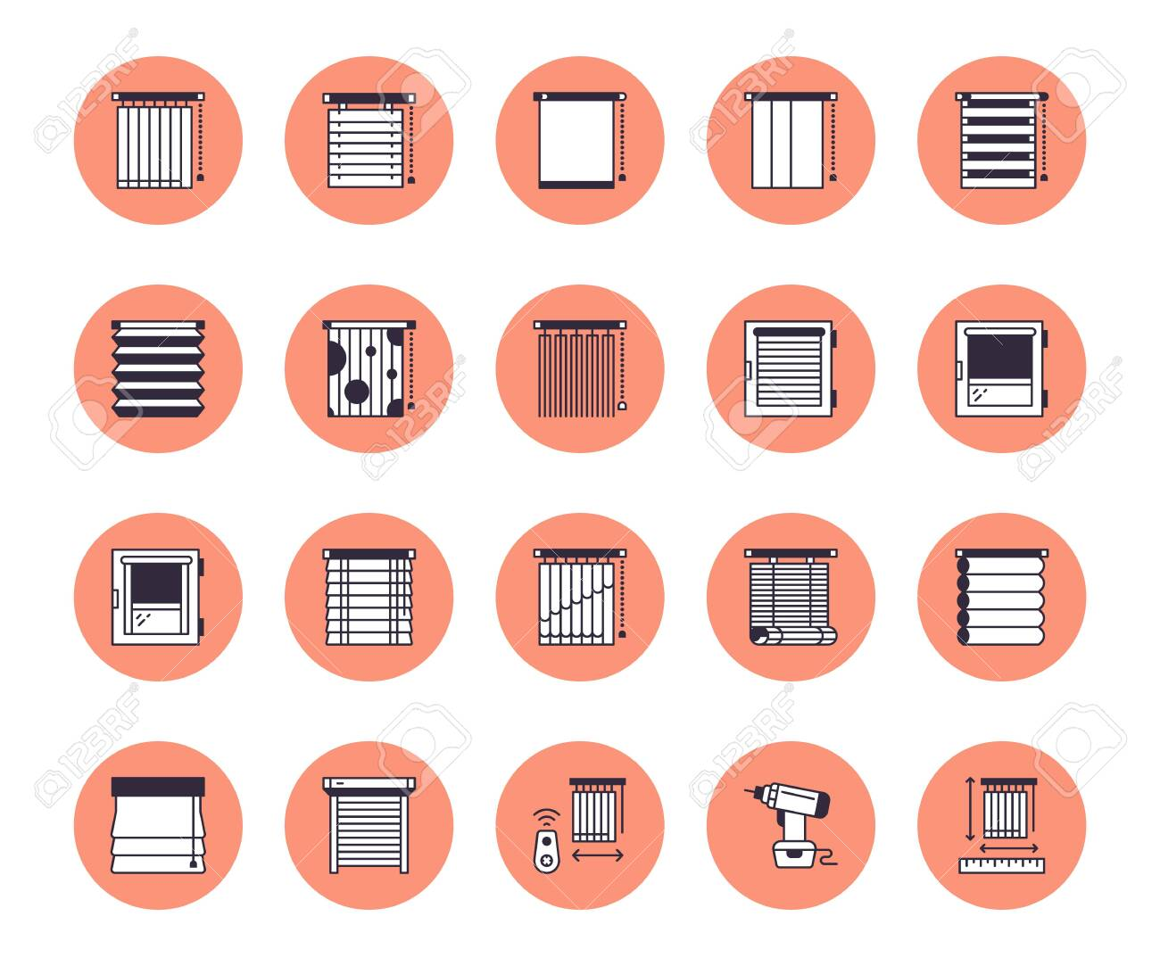Window Blinds Shades Line Icons Various Room Darkening Decoration