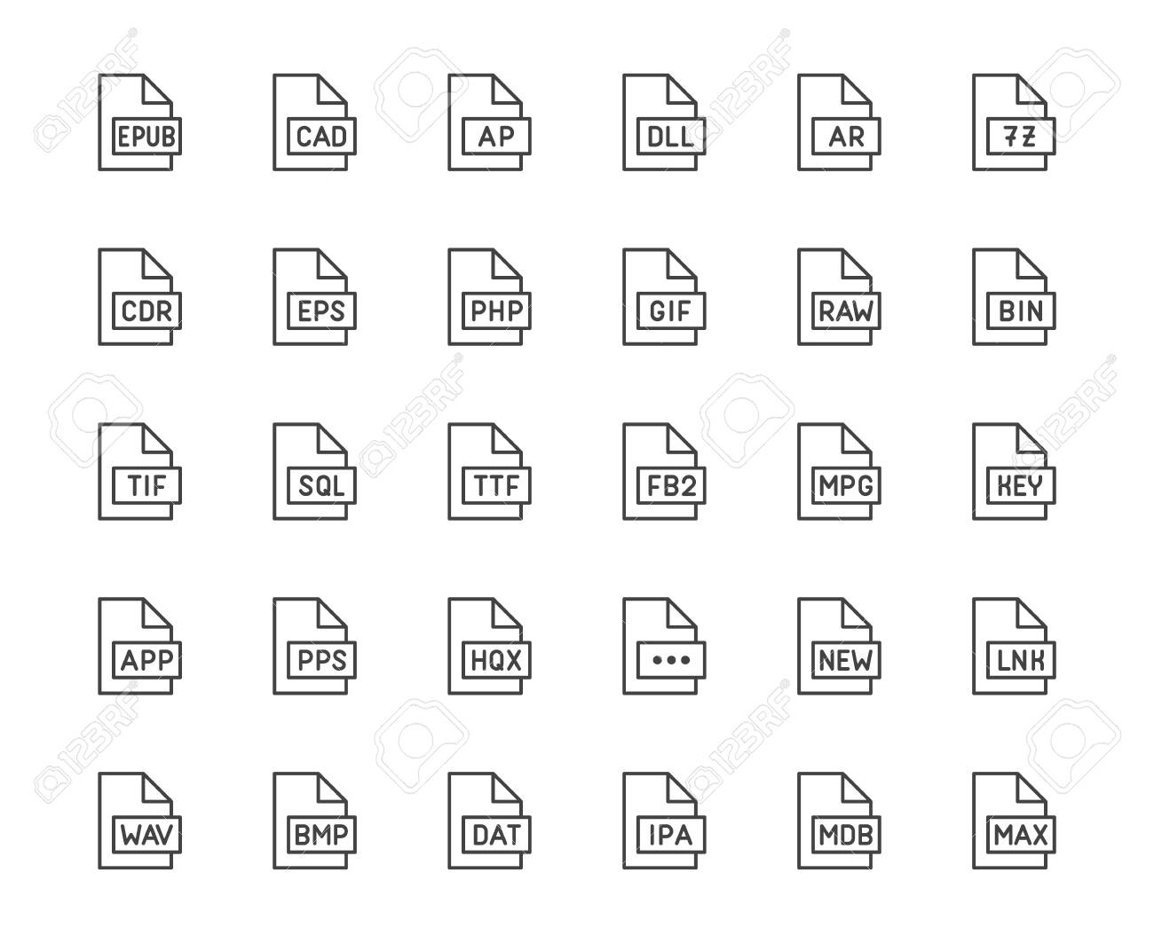 File format flat line icons set. Epub, dll, pps, gif, sql, fb2, eps, app document vector illustrations. Outline signs for extension. Pixel perfect 64x64. Editable Strokes. - 129389130
