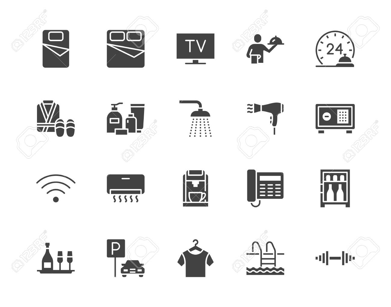 Hotel room facilities flat glyph icons set. Double bed, reception, room service, bathrobe, slippers, safe, minibar vector illustrations. Black sign for motel. Silhouette pictogram pixel perfect 64x64. - 133303460