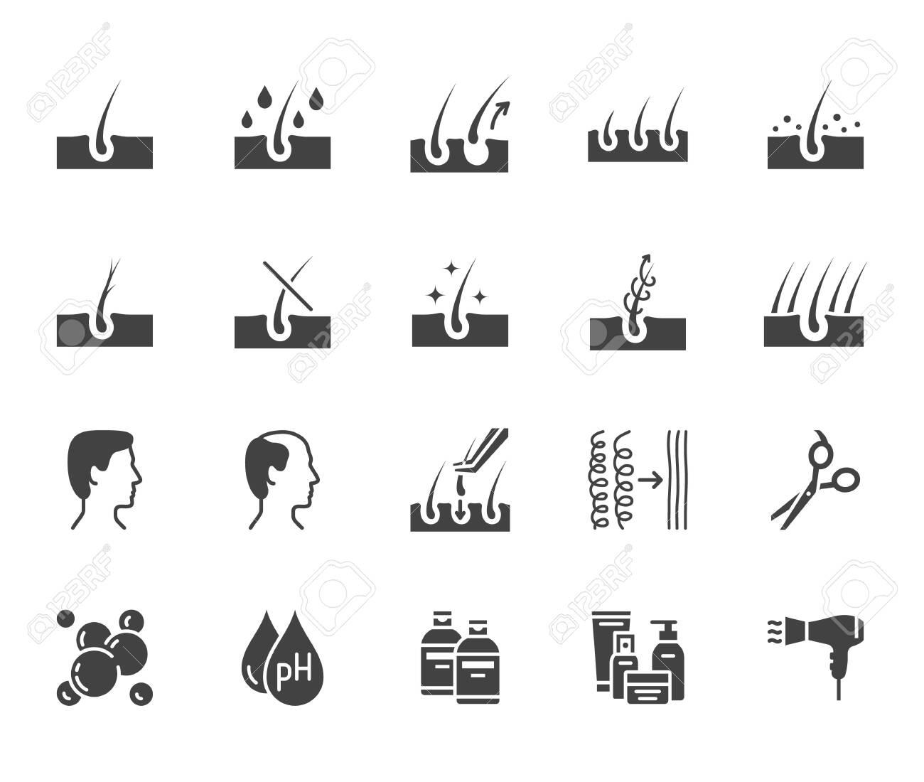 Hair Loss Treatment Flat Glyph Icons Set Shampoo Ph Dandruff Royalty Free Cliparts Vectors And Stock Illustration Image 137237887
