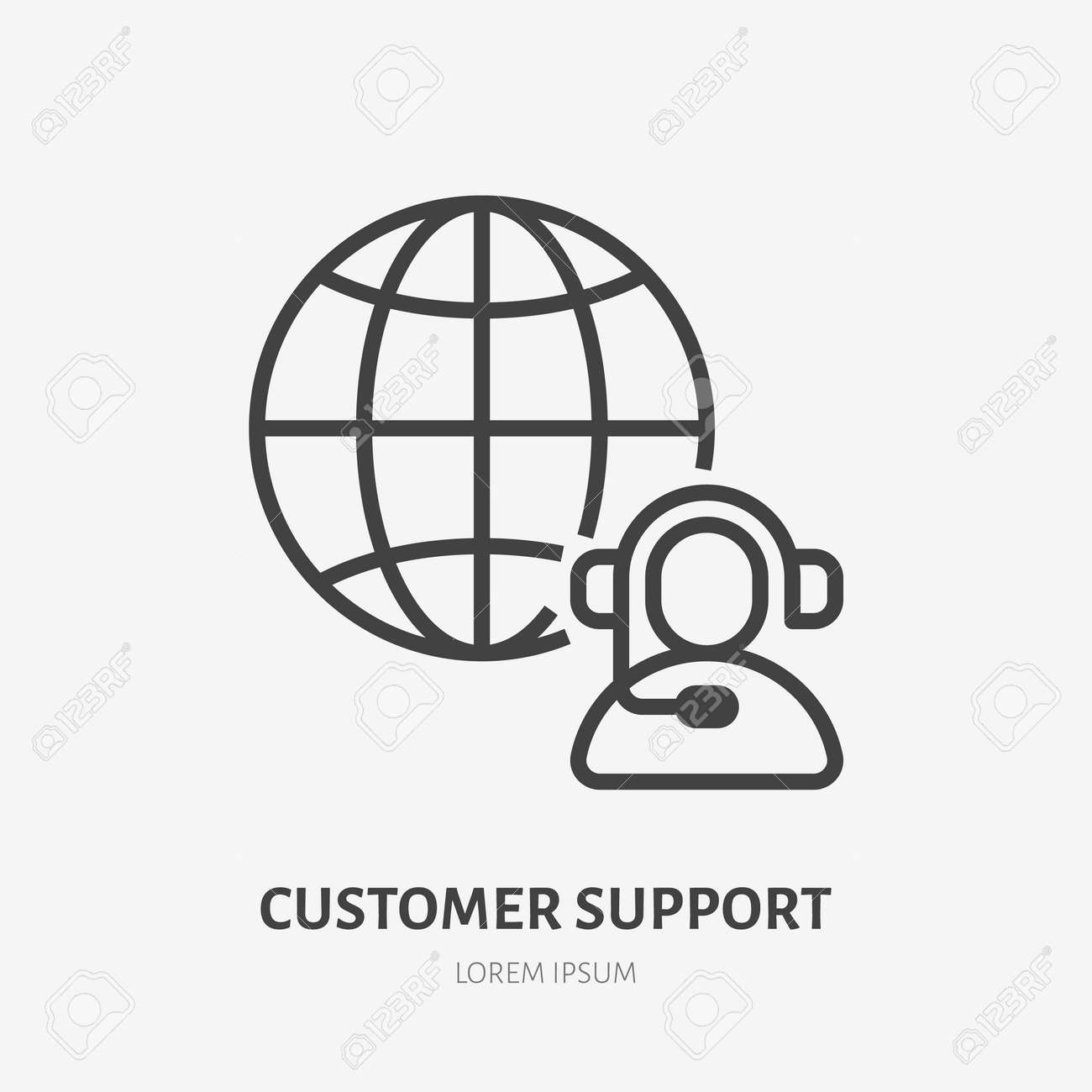 Customer customer line icon, vector pictogram of client support, online assistant. Operator in headset with globe stroke sign for call center. - 158800971