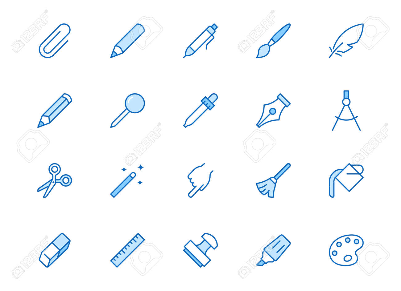 Drawing tools line icons set. Pen, pencil, paintbrush, dropper, stamp, smudge, paint bucket minimal vector illustrations. Simple outline signs for web interface. Blue color, Editable Stroke. - 158753318