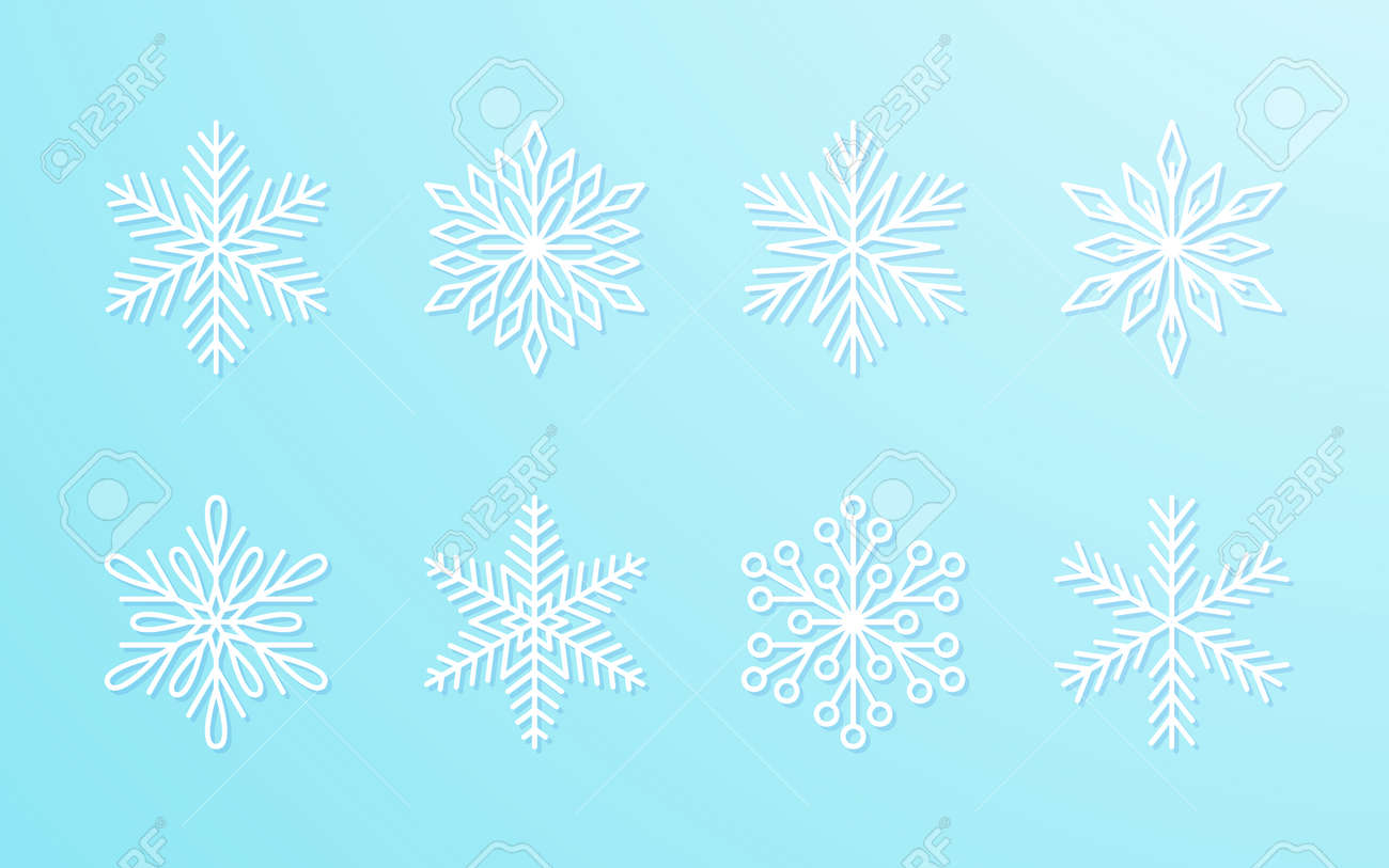 Christmas snowflakes collection white isolated on blue gradient background. Cute snow icons with intricate silhouette. Nice line doodle decorative element for New year banner, cards or ornament. - 158752673